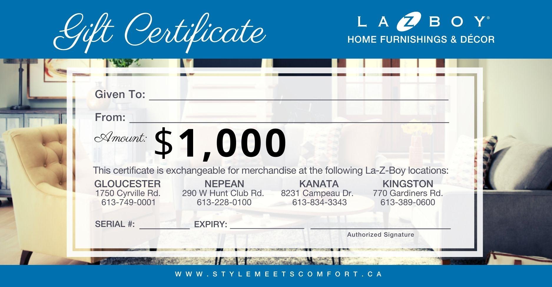 $1000_La-Z-Boy Gift Certificate